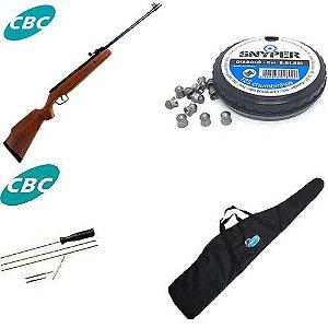 Carabina de pressão CBC Montenegro 6103 Cal. 5,5mm + Bolsa para Carabina + Chumbinho Diabolô Snyper 5,5mm + Kit de limpeza CBC para carabina de pressão 5,5mm