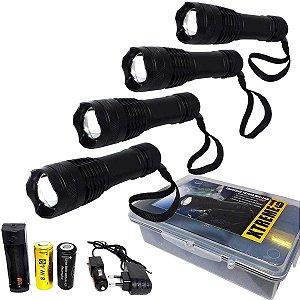 4 Lanternas Tática Xtreme c/ Super Led T9 e Baterias Extras