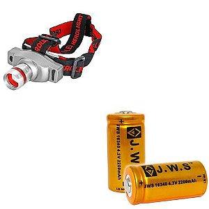 Lanterna De Cabeça Led T6 Recarregável c/ Bateria Extra