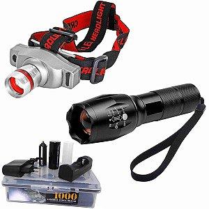 Lanterna CREE Led Martinelli 1000 T6-G2 Recarregável + Lanterna De Cabeça T6 Led Cree