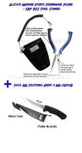 Alicate Marine Sports Fishermans Pliers - SRP RTI Tool Combo + Faca MS Fileteira Knife 4 MS-FK05B