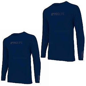 2 Camiseta Prolife Repelente Inseto Masculina Marinho Tam GG