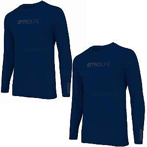 2 Camiseta Prolife Repelente Insetos Masculina Marinho Tam M