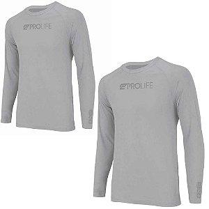 2 Camiseta Prolife Repelente Insetos Masculina Cinza Tam PP