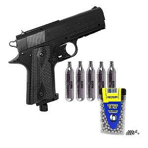 Pistola de pressão Wingun Rossi W401 CO2 4,5mm 14245070... + Cilindro de CO2 12g Rossi/Swiss Arms c/ 5 un. 25207377... + Esferas de aço Rossi 4,5mm c/ 300 un....