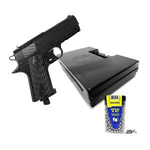 Pistola de pressão Wingun Rossi W401 CO2 4,5mm 14245070... + Esferas de aço Rossi 4,5mm c/ 300 un.... + Maleta Case Airsoft Pistolas - Rossi Preta...