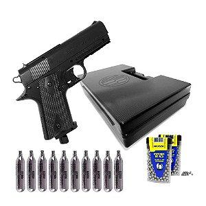 Pistola de pressão Wingun W401 CO2 4,5mm + Cilindros + Esferas