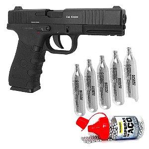 Pistola W119 Slide Metal Co2 4,5mm+ Maleta+ 5 CO2+ Munição