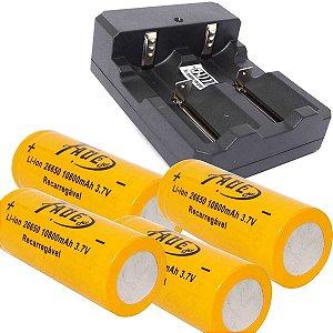 Carregador Duplo p/ Bateria 26650+ 4 Bateria 26650 3.7V 8800mAh Recarregável Para Lanternas