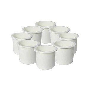 8x Porta copos de embutir branco - Naval