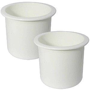 2 Porta copos de embutir branco - Naval