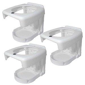 3 Porta copos dobrável Branco, ideal para sua embarcação