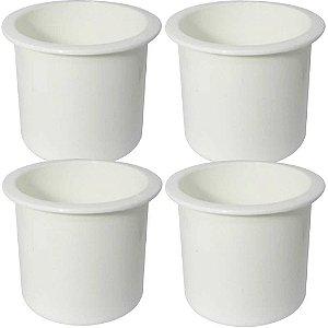 4 unidades Porta copos de embutir branco - Naval