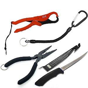 Alicate pega peixe Fish Grip+ Cordão de Segurança+ Alicate de bico Marine Sports+ Faca Marine Sports Fileteira