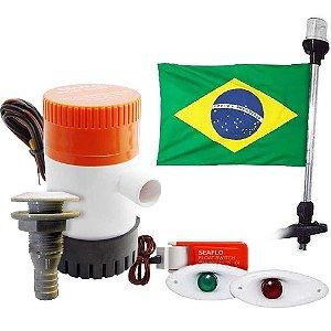kit Bomba Porão 500 Automático Saída Luz Mastro Bandeira