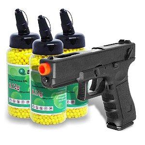 Pistola Airsoft Cyma CM.30 Glock Elétrica - Metal Bivolt + Kit 6000 Esferas Bbs