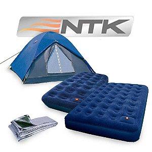 Kit Camping: Barraca Nautika Fox 4/5 pessoas + Colchão inflável Nautika Zenit Casal + Colchão inflável Nautika Zenit Solteiro + Lona Nautika Multiuso 3x3m
