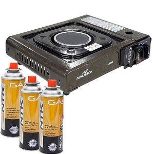 Fogareiro Nautika Duo Ceramik com acendedor automático + 3 Cartuchos de gás