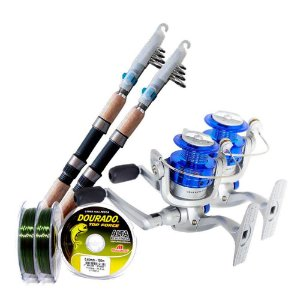 Kit de pesca 2 Varas 2 Molinete MS Star + Linhas