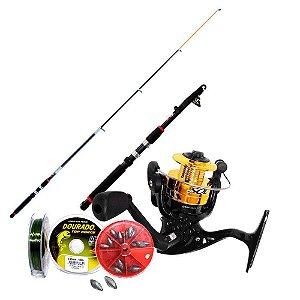 Kit de pesca Vara c/ Molinete MS Sol c/ linha + acessórios