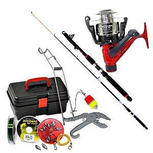 Kit de pesca Vara c/ Molinete MS Vista + maleta + acessórios