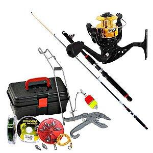 Kit de pesca Vara c/ Molinete MS Sol + maleta + acessórios