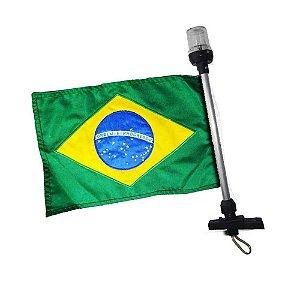 Kit Bandeira do Brasil + Mastro Alcançado 40cm com 2 LEDs