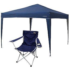 Gazebo Tenda articulado (dobrável) Nautika Trixx + Cadeira Nautika Alvorada Cor: Azul