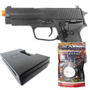 Airsoft Pistola Vg R226 2124 Mola 6mm + Esferas BBS+ Case