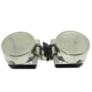 Buzina elétrica náutica inox, compacta dupla 12 V