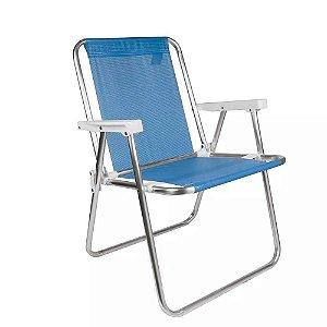 Cadeira Praia Camping Alta Aço Sannet Azul Mor 2283