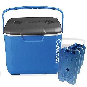 Caixa térmica Coleman 30 QT - 28L Azul tampa Cinza+ 3 Gelos Artificial Cliogel 500ml