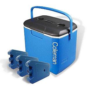 Kit Coleman: Caixa térmica Coleman 30 QT - 28L GRÁTIS 3 Gelo Artificial Cliogel