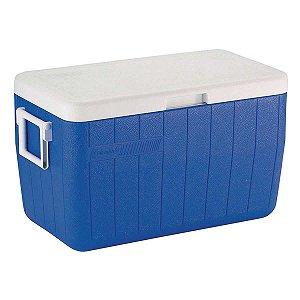 Caixa térmica Coleman 48 QT - 45,4L com alca escamoteável e dreno - Tampa e interir branco com exterior azul