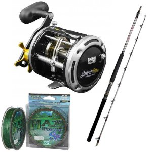 Kit pesca pesada 1X Car Blac Max 30-1X Vara-1X Linha 8x 0,45