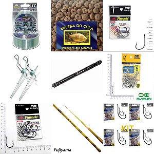 Kit pesca linha+isca+anzol+vara+girador+enrolador+suporte