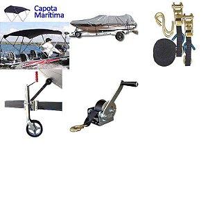 Capota + Capa + Cinta amarra + Pedestal carreta + Guincho