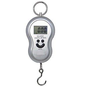 Balanca Digital de mão até 50kg c/ gancho - PRETA