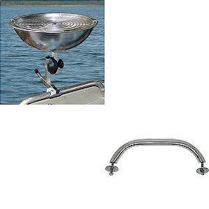 Kit Churrasqueira barco aço ou fibra+ Pega mão de inox
