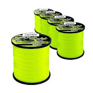 4x Linha Crown Fiber Soft Yellow 0,33mm 500m  + 1x 0,37mm