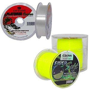 Kit 1X Linha Crown Fiber 0,37mm 500m 1X Linha Fluorca 0,40mm