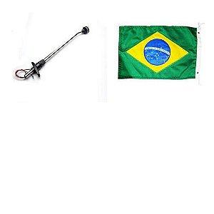 Mastro de Popa e Luz Led + Bandeira do Brasil bordada 22x33