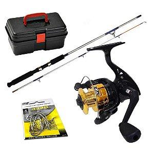 Kit de Pesca: Molinete MS Sol 100 c/ linha+ Vara MS Flipper+ Caixa HI+ Anzol Brinde