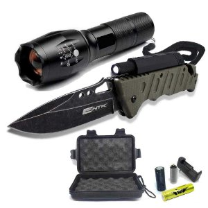 Lanterna Tática Militar X800+ Canivete Tático Nautika Borlov