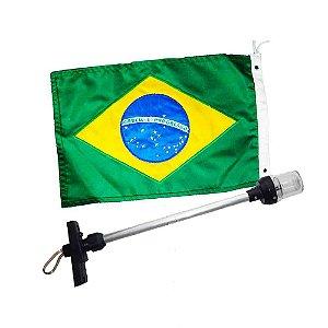 Mastro 40cm 2 LEDs Branco + Bandeira do Brasil bordada 22x33
