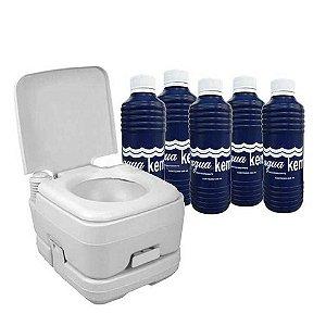 Vaso sanitário (banheiro químico) portátil Ecocamp 20L Nautika + 5 Solventes p/ sanitário