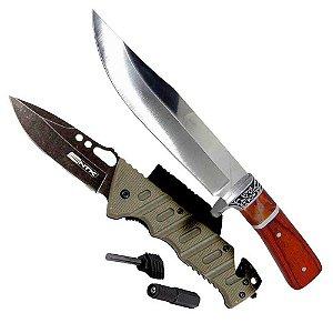 Faca Hz-06-1042 Cabo Madeir + Canivete Tático Nautika Borlov