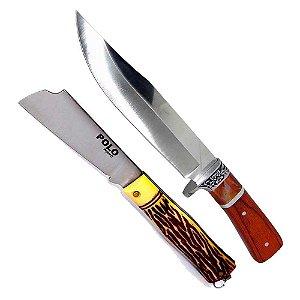 Faca Hz-06-1042 Cabo Madeira + Canivete Xingu Polo 3153