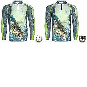2 Camiseta de Pesca King 22 verde - Tucunaré - Tam: 02 - M