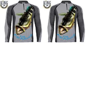 2 Camiseta de Pesca King 7 - Tucunaré Azul - Tam: 03 - G